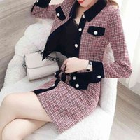 Discount fashionable skirt suits Women's Pants Winter Ladies' Jacket And A-line Skirt Suit, Elegant Fashionable 2-piece Tweed Retro Two-piece Button Two Piece Dress