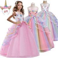 Discount grade girls dress Christmas Send a Gift High-grade birthday evening party child wedding dress 4-14Y girls Embroidered applique unicorn long dress T200624