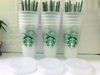 Starbucks 24oz 710ml Plastic Tumbler Reusable Clear Drinking Flat Bottom Cup Pillar Shape Lid Straw Mugs Bardian 50pcs Free DHL