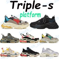 Classic triple s mens casual shoes platform sneakers beige green yellow black white gym red blue grey men women trainers US 6-12