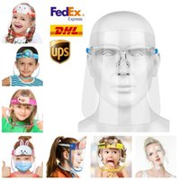 Fast Ship Children Cartoon Face Shield PET Anti-fog Isolation Masks Adult Clear Glasses Full Protective Mask Transparent Head Cover Sale