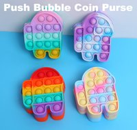 Fidget Toys Coins Purse Colorful Push Bubble Sensory Squishy Stress Reliever Autism Needs Anti-stress Rainbow Adult Toy small bags For Children CC8899