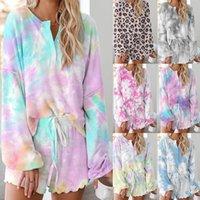 Autumn Lounge Wear Tracksuits Women 2 Piece Tie Dye Set Female Plus Size Short Sets