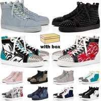 2021 red bottoms sneakers men women shoes high top Black White blue Glitter Grey pink leather suede mens fashion spikes casual trainers