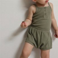 INS Korean Australia Quality Baby Kids Clothing Sets Waffle Knitted Front Buttons Summer Sleeveless Tops with Shorts 2pieces Outfits