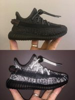 2021 kids Kanye West GS Nice sneakers Black Static Reflective Children girl Cool and breathable running shoes size22-35