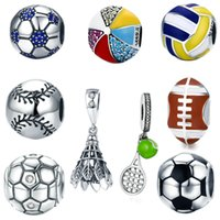 925 Sterling Silver Soccer Football Beads Blue Crystal Sport Volleyball Charms for European Bracelets Necklace DIY Jewelry Accessories