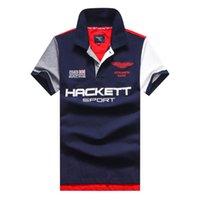 Men Hackett London Polo Shirt England Fashion Mens HKT Racing Polos Camisa Brit Casual Short Sleeve UK T-Shirt Jerseys Tees White Red M-2XL