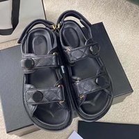 Designer Women Sandals Crystal Calf leather Classic quilted Platform Fashion Casual Shoes Summer Beach Womens Slides slipper size 35-42 With box