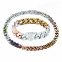 Europe America Fashion Men Titanium steel Engraved V Initials Colored Enamel Diamond Silver-Metal Thick Chain Links Soapy Bracelet Necklace MP2634 MP2635