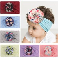 Discount linen hair bows 7 Colors Girls Baby Bows Headbands Hair Accessories Elastic Bowknot Printing Hairbands Headwear Kids Headdress Turban Knot Hairband Toddler