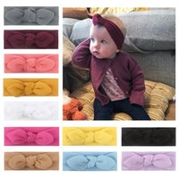 linen hair bows 2021 - 11 Colors Solid Bow Hair Accessories Kids Elastic Bowknot Headbands Hairbands Bohemia Turban Knot Headwear For Baby Girls