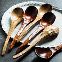 Handmade Japanese Style Wooden Spoon Long Handle Tortoise Shell Wood Soup Spoon Large Dinner Spoon for Cereal Porridge Tableware