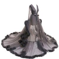 Women Sleepwear Feather Bathrobe Long Wedding Bridal Robe Customize Nightgown Perspective Sheer Maternity Pajamas