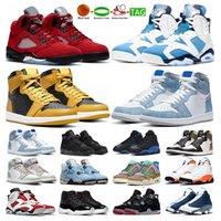 Jumpman Basketball Shoes Air Jordan Retro 1s 4s Black Cat men women 5s Raging Bull 6s UNC 4 11s Legend Blue mens Outdoor Sports Trainers Sneakers