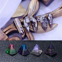 3d cone 2021 - 100pas Pagoda Nail Art Rhinestones 4mm Square Cone Geometry Strass Glass Crystal 3D DIY Decoration1