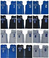 Mens Duke Blue Devils College Basketball Jerseys 1 Zion Williamson 2 Cam Reddish 5 R. J. Barrett RJ 0 Jayson Tatum Stitched Shirts S-XXL