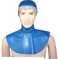 Discount funny noses Transparent Blue With Transparent Face Sexy Latex Hood With Zip At Back Open Eyes Mouth Nose Rubber Mask TT-0097