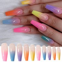 24Pcs Set Reusable False Nail Tips Full Cover Rainbow Gradient Tip with Designs Press On Nails Art Fake Extension MJ39