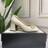Classics Women Dress Shoes buckle Sandals square toes Summer Beach slippers Alphabet lady Leather Heels 2.5cm 7.5cm Mules High Heel Ladies Vintage Wedding Sandal