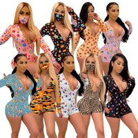 Womens Skinny Jumpsuits Pajama Onesies Rompers Fashion Woman Clothes Print Playsuit V Neck Long Sleeve Shorts Plus Size Clubwear 8853