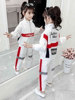 canvas trench 2021 - 2020 New Kids Children's Casual Trench Set Teen Spring Autumn Long Sleeve Hip Hop Dance Clothing Set Girls Jazz Dance Costumes X0401