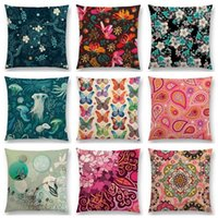 Discount butterfly pillow pattern Gorgeous Flowers Circle Floral Curves Abstract Pattern Blossom Paisleys Butterfly Colorful Cushion Sofa Throw Pillow Cushion Decorative