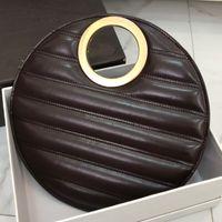 2021 Handbags Round Bread Bag Women Purse Litchi Pattern Cowhide Genuine Leather Woman Fashion Totes Purses Cake Bags Ridges
