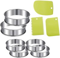 Wholesale Muffin Rings Round Baking Mould with Peices Dough Scraper Set Stainless Steel Double Rolled Edges Cake Rings Pancake Ring Crumpets
