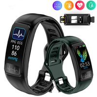 P12 ECG PPG Smart Bracelet Electronics Wristband Blood Pressure Heart Rate Monitor Smartband Sports Bluetooth Pedometer IP67 Waterproof Band Fitness Tracker
