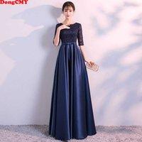 Dongcmy Long Formal Evening Dresses Elegant Lace Satin Navy Blue Vestidos Women Party Gown SH190827