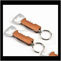 Discount key knife bottle opener Wooden Handle Bottle Opener Keychain Knife Pulltap Double Hinged Corkscrew Stainless Steel Key Ring Openers Bar Hhf892 Rye3H Iipga