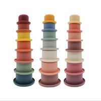 Baby Stacking Cup Funny Toys Rainbow Color Ring Tower Early Educational Intelligence Kids Toy Nesting Rings Towers Bath Play Water Set silica gel plaything wmq1081
