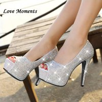 Wholesale low price dress shoes resale online - Sparkling Rhinestone Wedding Shoes Open Toe High heeled White Single Women s Party Bridal Low Price Dress