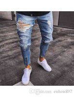 men s long boots 2021 - Men's Jeans fashion mens streetwear Retro straight denim print trousers casual cotton hip hop panst