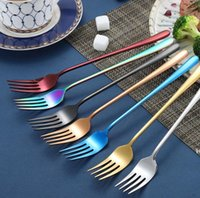 korean stainless steel chopstick 2021 - Korean sets stainless steel long handle knife fork spoon chopsticks set colorful flatware for wedding kitchen accessories DHE5722