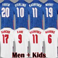 2021 SANCHO RASHFORD ENGLAND Soccer Jerseys KANE MOUNT Football shirts STERLING GREALISH National team RICE Kit Top Quality 20 21 White Blue Jersey Men Kids kits