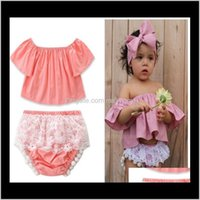 Discount korean summer outfit wholesale Clothing Sets Summer Korean Fashion Outfit Cotton Child Baby Short Sleeve Tshirts Tassel Lace Pants 2 Pcs Set Leisure Personality Girl Vkhxd