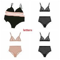 Latest Sexy Lace Bikinis Tulle Letter Seamless Bra Set Soft Breathable Lingerie for Women 2 Colors