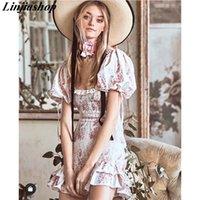 Boho loveshackfancy autumn dress beige short sleeve ruffles slim holiday ins bloggers special interest mini dress women