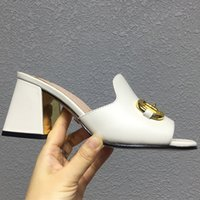 High heeled Slipper Women Fashion Designers Slides Shoes Sandals Genuine leather sole Womens Solid Scuffs Sandal 7.5cm Heels Slippers big size Shoe 34-43