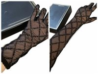 Black Tulle Sleeve Gloves Full Letters Embroidered Lace Mittens INS Fashion Thin Wedding Party Glove Womens Charming Mitten