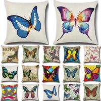 Discount butterfly pillow pattern Pcs Butterfly Pattern Cotton Linen Throw Pillow Cushion Cover Seat Car Home Sofa Bed Decorative Pillowcase Funda Cojin 40204 Cushion Decorat