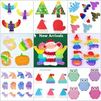 Christmas Hat Tree Glove Santa Claus Favor Gift Kids Puzzle Bubble Toys Push Fidget Sensory Decompression Reliever Halloween Toy Gifts