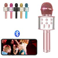 Top Quality WS-858 Bluetooth Wireless Microphone Handheld Karaoke Mic with USB Cahrging KTV Player Record Music For Party Singing Kids Toys