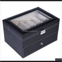 Discount watch case storage organizer Boxes Bins 20 Compartments Leather Watch Display Show Case Box Dual Layers Elegant Jewelry Collection Storage Organizer Zf8By Qoonm