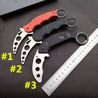Discount karambit knives Karambit folding eagle claw knife 440C steel G10 handle not sharp outdoor hunting self defense training tool trainer mechanical claws EDC zt Micro