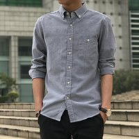 Discount oxford color shirt Men's Long Sleeve Oxford Solid Color Casual Shirt Breast Pocket Regular Button Collar Work Spring And Autumn Shirts
