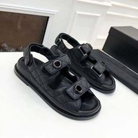 Designer Women Sandals High Quality Womens Slides Crystal Calf leather Casual shoes quilted Platform Summer Beach Slipper 35-42 With box and Shopping bag