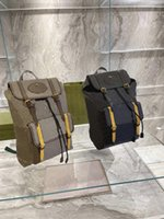 Classic Mens Soft Travel Backpack Katy Perry Sup Web Straps Brown Yellow Vintage Canvas Bag Luxurys Designer Shoulder Bags